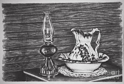 Oil Lamp Drawing - Nighttime Ablution by Terri Mills