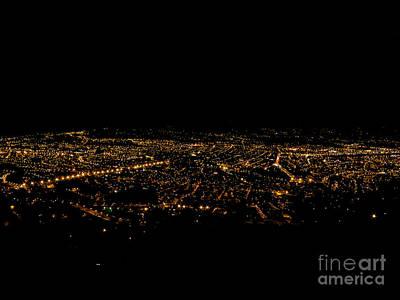 Streetlight Photograph - Nighttime In Cuenca Ecuador by Al Bourassa