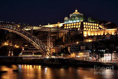 Nighttime In Porto Print by John Rizzuto