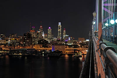 Nighttime Philly From The Ben Franklin Print by Jennifer Ancker