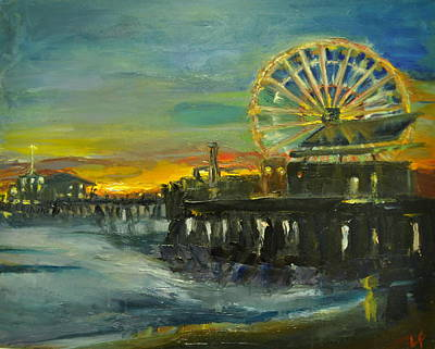 Santa Monica Painting - Nighttime Pier by Lindsay Frost