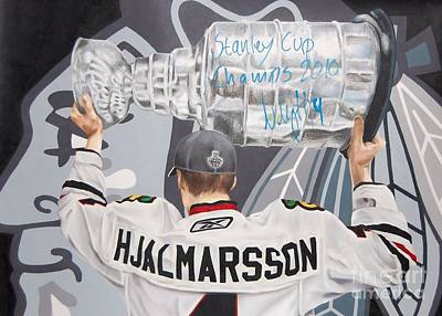 Chicago Blackhawks Drawing - Niklas Hjalmarsson by Brian Schuster