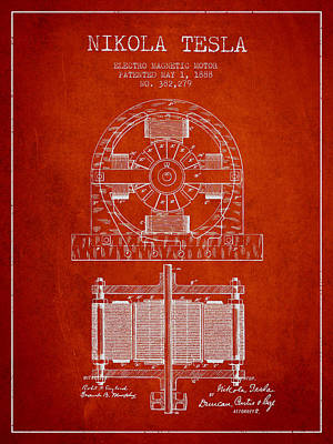Nikola Tesla Electro Magnetic Motor Patent Drawing From 1888 - R Print by Aged Pixel