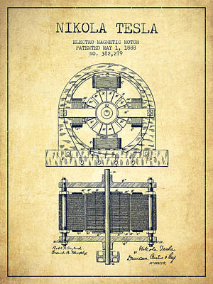 Nikola Tesla Electro Magnetic Motor Patent Drawing From 1888 - V Print by Aged Pixel