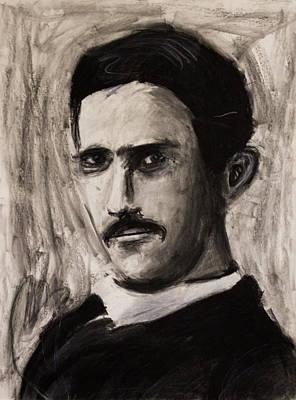 Nikola Tesla In Coat Charcoal Drawing Print by Don Lee