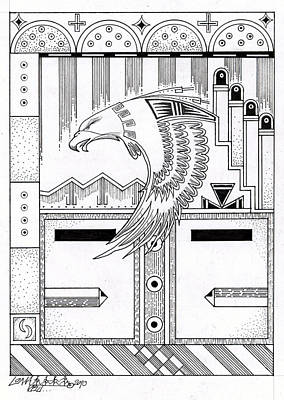 Hopi Drawing - Niman 2 by Dalton James