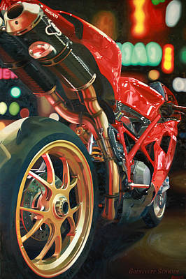 Motorcycle Painting - Nine Foot Ducati by Guenevere Schwien