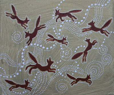 Red Fox Painting - Nine Foxes by Sophy White