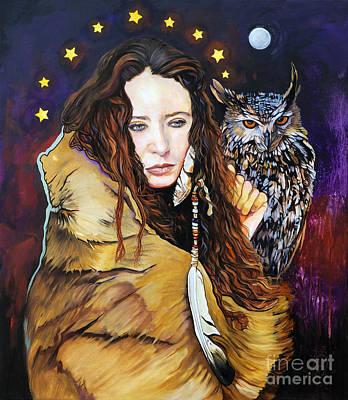 Nine Stars Woman / Owl Medicine Print by J W Baker