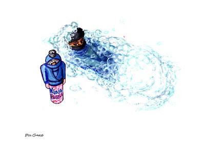 Ninja Stealth Disappears Into Bubble Bath Print by Del Gaizo