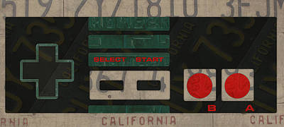 Vintage Video Game Mixed Media - Nintendo Controller Vintage Video Game License Plate Art by Design Turnpike