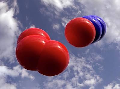 Atom Photograph - Nitrous Oxide And Oxygen by Indigo Molecular Images