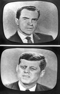 Nixon-kennedy Debate On Tv Print by Underwood Archives