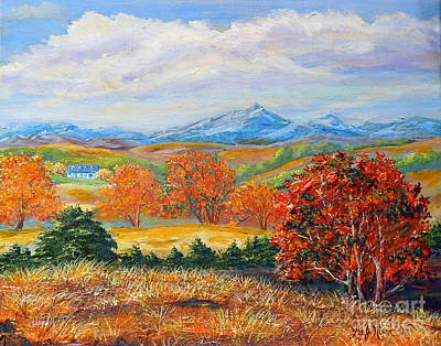 Aerial Perspective Painting - Nixon's Brilliant Autumn View Alongside The Blue Ridge by Lee Nixon