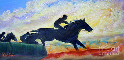 Steeplechase Race Painting - Nixon's The Race Is On No. 1   by Lee Nixon