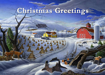 New England Snow Scene Painting - no 3 Christmas Greetings 5x7 greeting card  by Walt Curlee