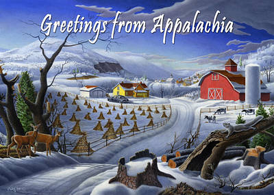 Folksie Painting - no 3 Greetings from Appalachia by Walt Curlee