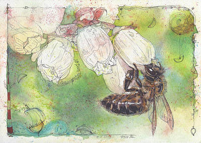 Blueberry Painting - No Bees - No Blueberries by Petra Rau