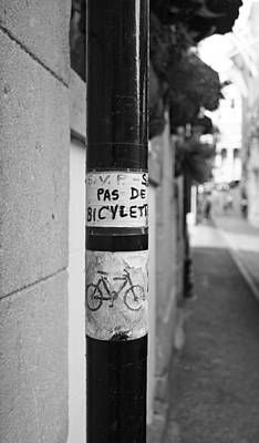 Sign Photograph - No Bicycle Parking - Pas De Bicyclette by Brooke Ryan