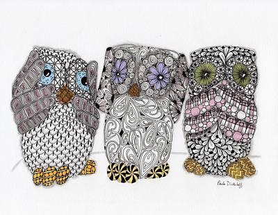 Monkeys Drawing - No Evil Owls by Paula Dickerhoff