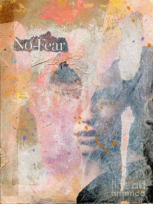 Abstract Collage Mixed Media - No Fear by P J Lewis