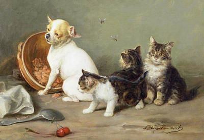 Dog Care Painting - No Flies On Me by Louis Eugene Lambert
