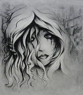 Tears Drawing - No More Tears by Rachel Christine Nowicki
