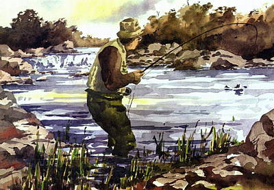 Salmon Painting - Mayo  Fishing The Moy by Val Byrne