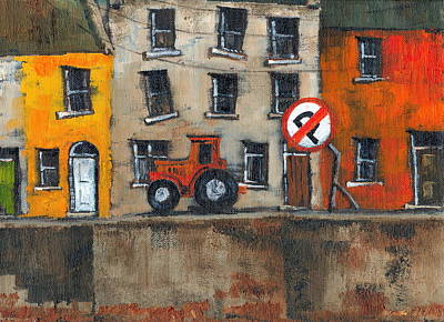Tour Ireland Painting - No Parking by Val Byrne