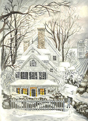 Storm Drawing - No Place Like Home For The Holidays by Carol Wisniewski