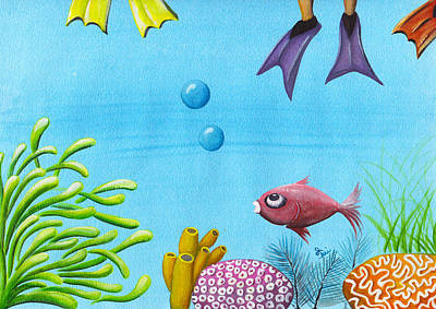 Coral Painting - No Privacy by Oiyee At Oystudio