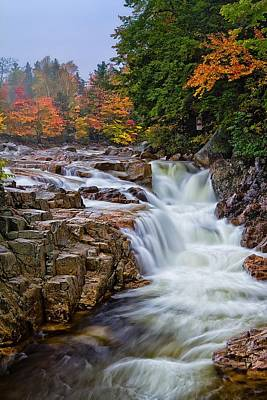 White River Scene Photograph - No Swimming Rocky Gorge Albany Nh by Jeff Sinon