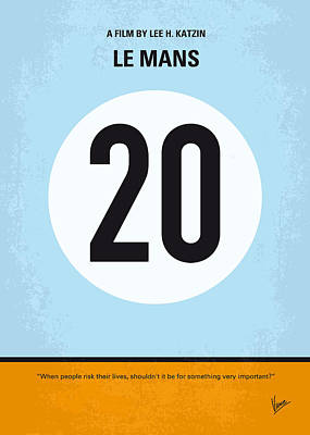 Le Mans 24 Digital Art - No038 My Le Mans Minimal Movie Poster by Chungkong Art