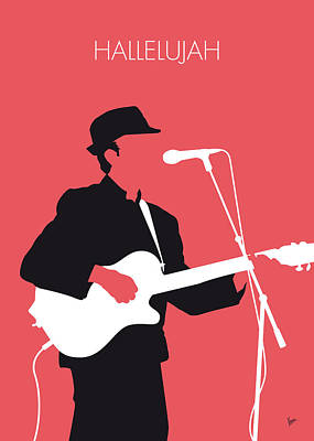 Fan Art Digital Art - No042 My Leonard Cohen Minimal Music by Chungkong Art