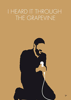 Grapevines Digital Art - No060 My Marvin Gaye Minimal Music Poster by Chungkong Art
