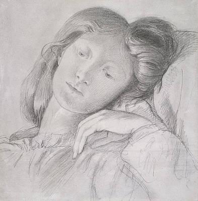 Leaning Drawing - Elizabeth Siddal, Circa 1860 by Dante Gabriel Charles Rossetti