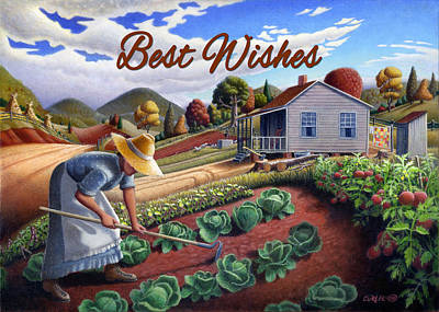 Garden Scene Painting - no13A Best Wishes by Walt Curlee