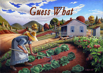 Garden Scene Painting - no13A Guess What by Walt Curlee
