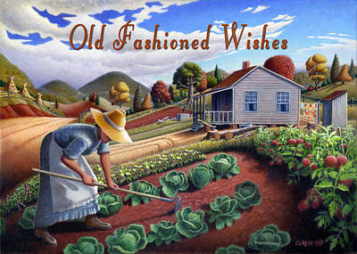 Garden Scene Painting - no13A Old Fashioned Wishes by Walt Curlee