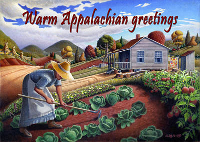 Garden Scene Painting - no13A Warm Appalachian greetings by Walt Curlee