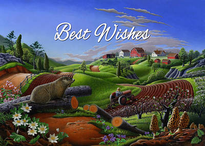 Groundhog Painting - no14 Best Wishes 5x7 greeting card  by Walt Curlee