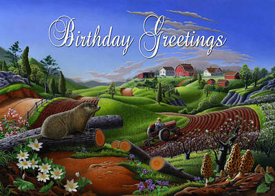 Groundhog Painting - no14 Birthday Greetings 5x7 greeting card  by Walt Curlee