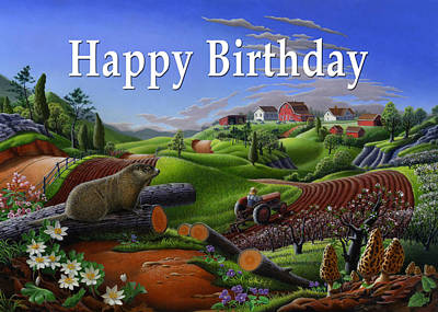 Groundhog Painting - no14 Happy Birthday 5x7 greeting card  by Walt Curlee