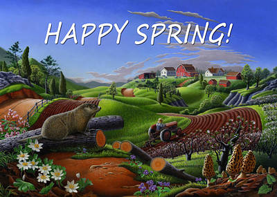 Groundhog Painting - no14 Happy Spring 5x7 greeting card  by Walt Curlee