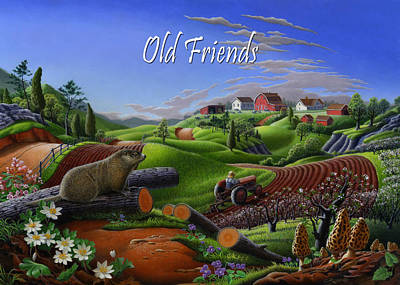 Groundhog Painting - no14 Old Friends 5x7 greeting card  by Walt Curlee