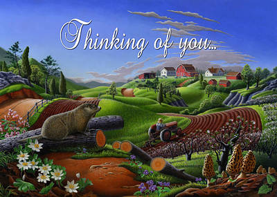 Groundhog Painting - no14 Thinking of you 5x7 greeting card  by Walt Curlee