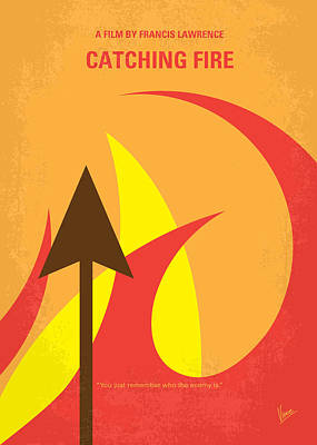 Fight Digital Art - No175-2 My Catching Fire - The Hunger Games Minimal Movie Poster by Chungkong Art