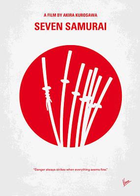 Minimalist Digital Art - No200 My The Seven Samurai Minimal Movie Poster by Chungkong Art