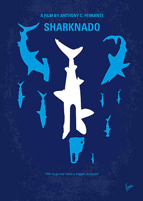 Great White Shark Digital Art - No216 My Sharknado Minimal Movie Poster by Chungkong Art