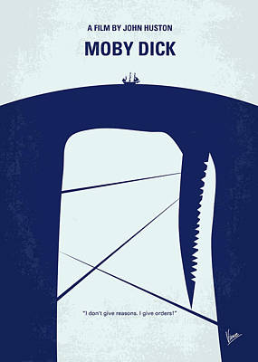 No267 My Moby Dick Minimal Movie Poster Print by Chungkong Art